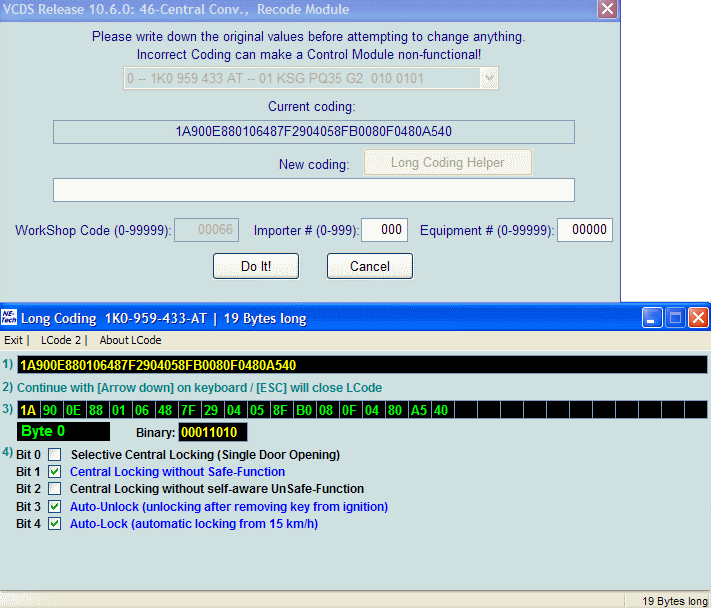VCDS (vag com) tweaks and modification settings in the comfort
