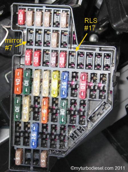 rls fuse circuit addition to fusebox in your mk5 or mk6 volkswagen vw tdi volkswagen golf mk6 fuse box diagram at n-0.co