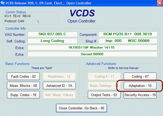 Comfort window function with VCDS - key fob remote operation