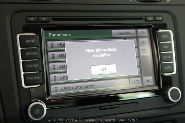 phone book vw bluetooth golf