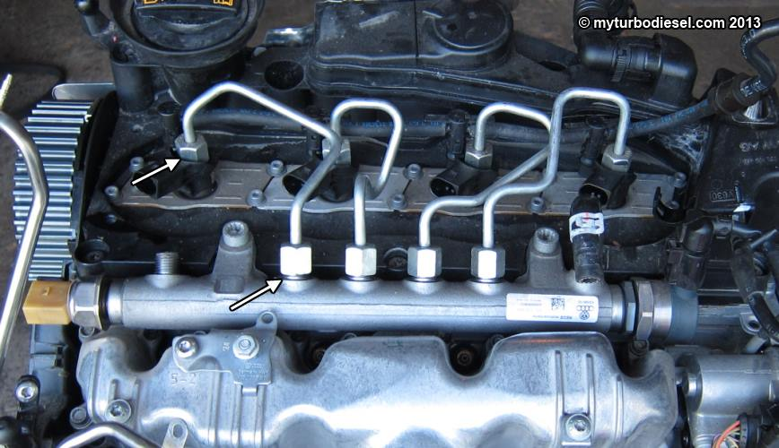 crd injector 3 fuel injector and valve cover removal cjaa cbea 2 0 tdi engine Wiring Harness Diagram at metegol.co